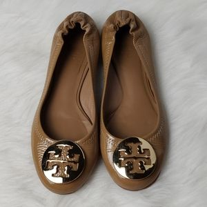 Tory Burch Reva Ballet Flats Tumbled Leather Tan